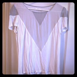 Gray and white silk inset short sleeve tee